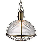 Unique Antique Brass Pendant Ceiling Light with Acid Glass Shade