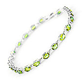 QP Jewellers 8.5in 5.50ct Peridot Infinite Tennis Bracelet in 14K White Gold