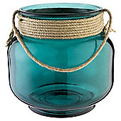 Recycled Hurricane Candle Jar Turquoise