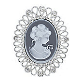 Rhodium Plated Cameo Brooch