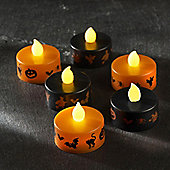 Set of 6 Black & Orange Halloween Battery LED Tea Lights