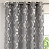 Julian Charles Riva Silver Luxury Striped Lined Curtains - 112x183cm