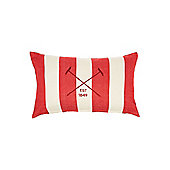 Linea Embroidered Logo Red Striped Cushion