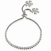 Silver tennis bracelet with hanging clover charms