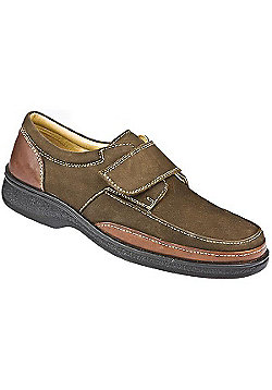 Pavers Touch Fasten Leather Shoe with Wide Strap Brown Suede - 10 - Brown