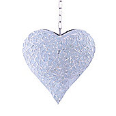 Large White Mosaic Hanging Heart Garden Wind Spinner / Hanger