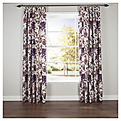 "Hand Painted Floral Lined Pencil Pleat Curtains W112xL137cm (44x54""), - Plum"