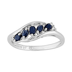 Gemondo Sterling Silver 0.43ct Natural Sapphire & Diamond Contemporary Five Stone Ring