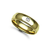 18ct Yellow Gold 6mm Court Mill-Grain Diamond set 10pts Solitaire Wedding / Commitment Ring