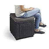 Allibert Cube Storage Table & Cushion - Graphite