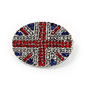 Union Jack Oval Silver Plated Crystal Brooch - 3.2cm Diameter