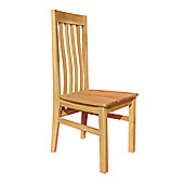 Home Zone Furniture Churchill Oak 2010 Dining Chair with Wooden Top in Natural Oak