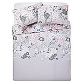 Tesco Oriental Flower Print Duvet Set Double Grey
