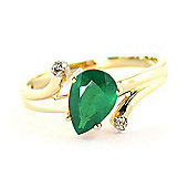 QP Jewellers Diamond & Emerald Flank Ring in 14K Gold