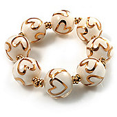 Italian Glass Heart Bead Flex Bracelet (Milk White & Gold)