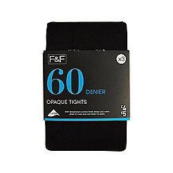 F&F 3 Pack of Opaque 60 Denier Tights with Lycra® L Black