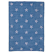Lorena Canals Blue Stars White Children's Rug - 120 cm W x 160 cm D (3 ft 11 in x 5 ft 3 in)