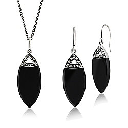 Gemondo Sterling Silver Black Onyx & Marcasite Art Deco Drop Earring & 45cm Necklace Set