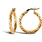 Jewelco London 9ct Yellow Gold Hammered Hoop Earring