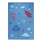 Esprit Little Astronauts Blue Children's Rug - 133 cm x 200 cm (4 ft 4 in x 6 ft 7 in)
