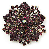 Victorian Corsage Flower Brooch (Gold & Purple)