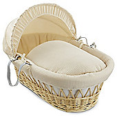Clair de Lune Natural Wicker Moses Basket (Soft Cotton Waffle Cream)