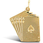 Solid 9ct Yellow Gold Ace of Spades Royal Flush Poker Charm Pendant