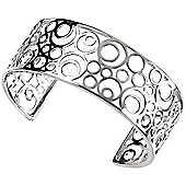 Cut Out Circles Silver Cuff Bangle