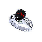 QP Jewellers Diamond & Garnet Renaissance Ring in 14K White Gold