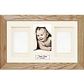 BabyRice Soft Clay Dough Baby Handprints Footprints Kit with Display Frame Solid Oak - Cream - White