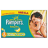 Pampers Baby Dry Size 3 Mega Pack - 104 nappies
