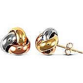 Jewelco London 9ct 3 Colour Knot Studs