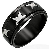 Urban Male Star Design Black Stainless Steel Spinning / Worry Ring For Men