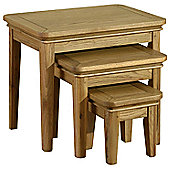 Kelburn Furniture Loire 3 Piece Nest of Table Set in Light Oak Stain and Satin Lacquer