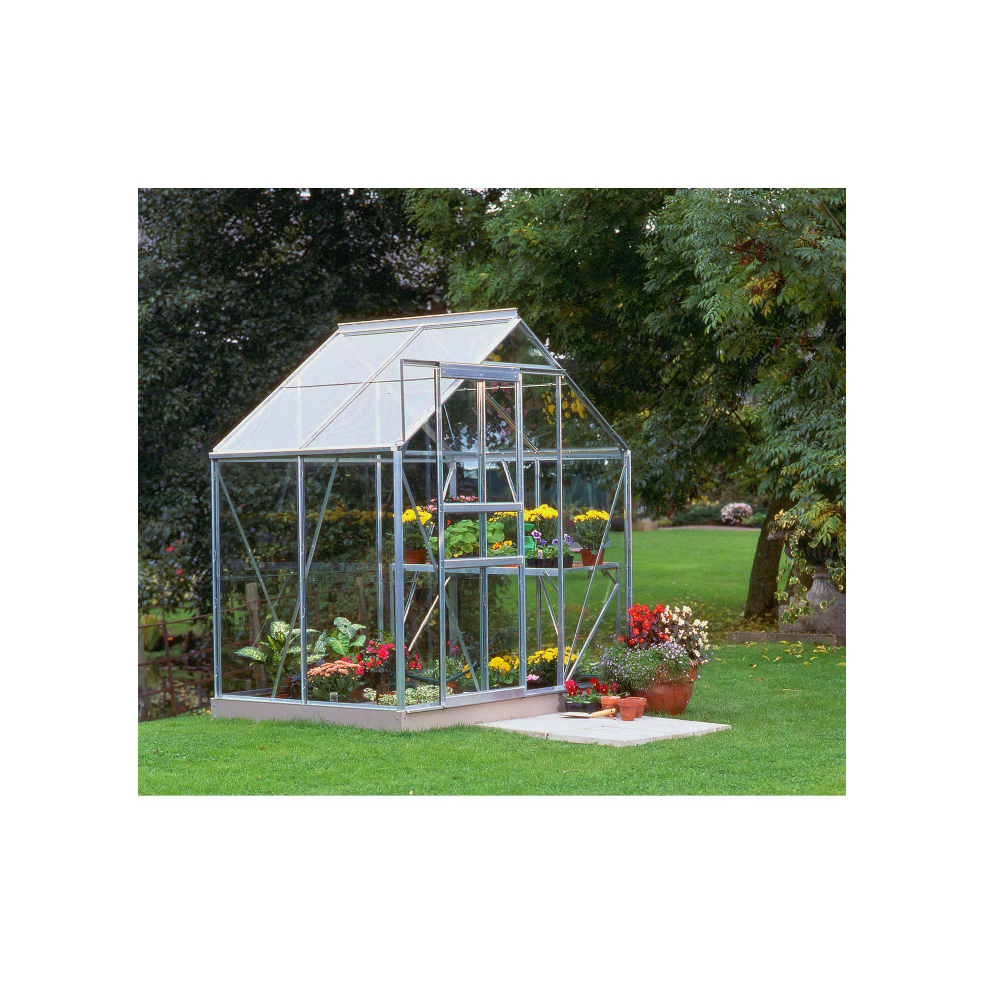 Halls 6x4 Popular Aluminium Greenhouse - Horticultural Glass at Tesco Direct