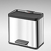 3 x 11L Stainless Steel Pedal Waste Bin - 3 Compartments