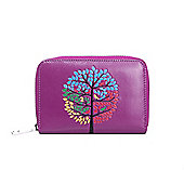 Purple Embossed Tree Zip Up Purse