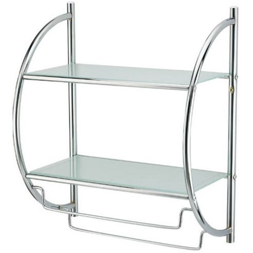 Techstyle Two Tier Metal Wall Shelf / Towel Rail