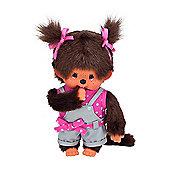 Monchhichi 20cm Pink Dot Ribbon Girl Doll