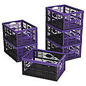 Tesco 32L Plastic Folding Crate, Pack of 6, Black/Purple