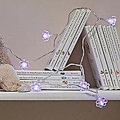 10 LED Pink Crystal Flower Battery Fairy Lights