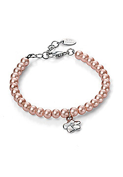 D for Diamond Girl's Pink Pearl Flower Bracelet