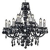 Endon Lighting Crystal Candle Chandelier in Black Acrylic