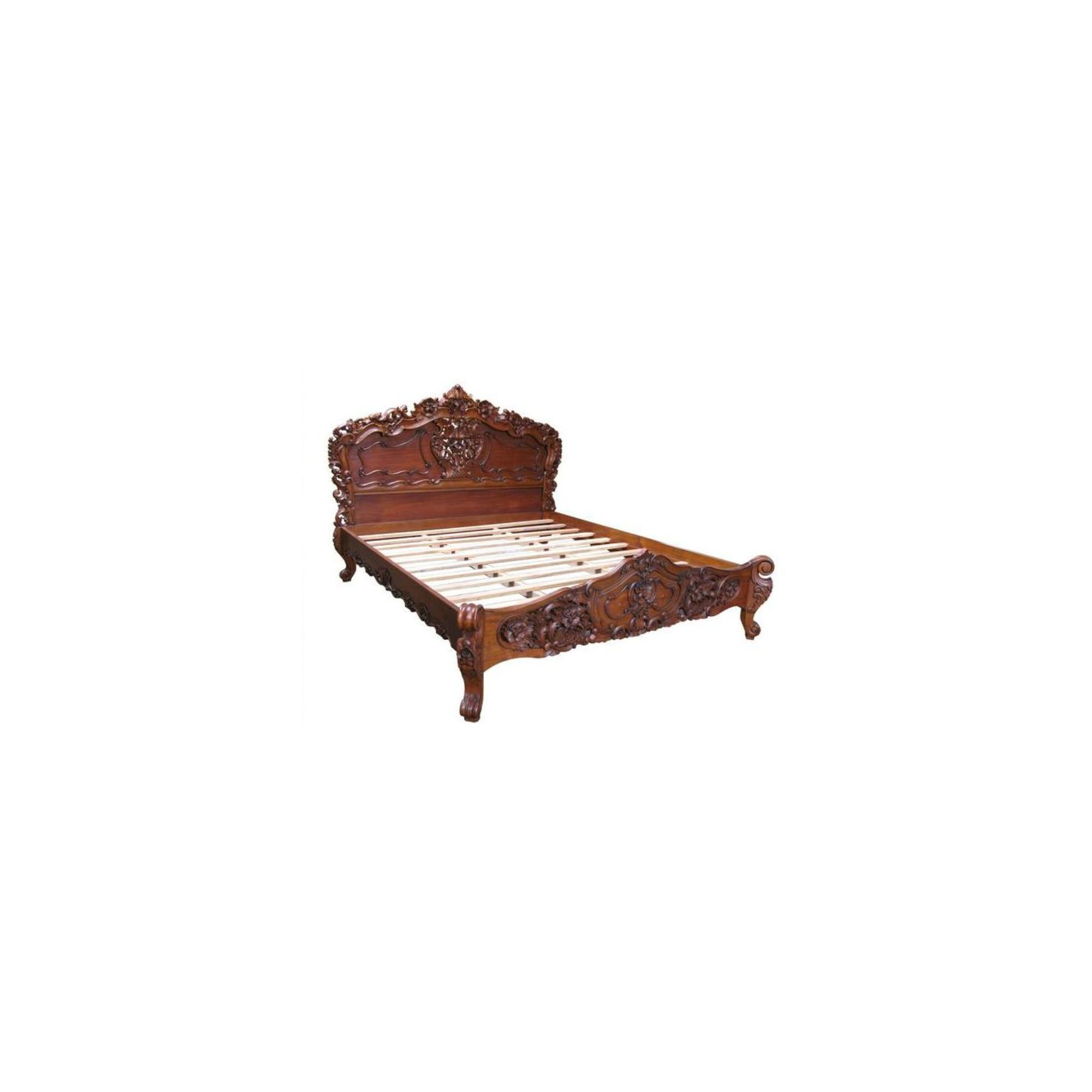 Lock stock and barrel Mahogany Carved Rococo Bed in Mahogany - Wax Polish - Double at Tesco Direct