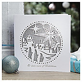 Tesco Luxury Silver Religious Scenes Christmas Cards, 6 Pack