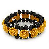 Romantic Yellow Resin Rose, Black Glass Bead Flex Bracelet - 19cm Length