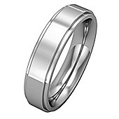 Jewelco London 18ct White Gold - 5mm Premium Flat Court Step Cut Band Commitment / Wedding Ring -