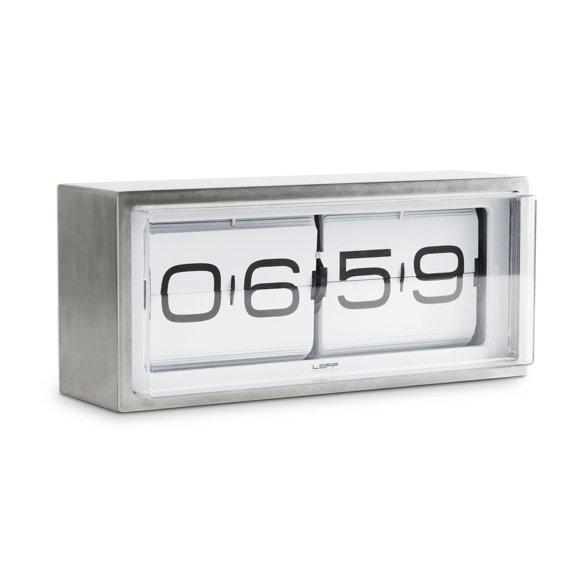 Leff Brick Wall/Desk Clock with White Dial in Grey Stainless Steel - AM/PM at Tesco Direct