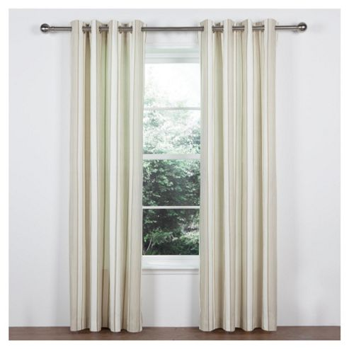 Tesco Ticking Stripe Lined Eyelet Curtains W168xL137cm (66x54