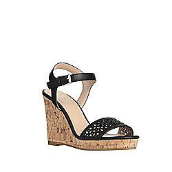 F&F Laser Cut Wedge Sandals Adult 06 Black